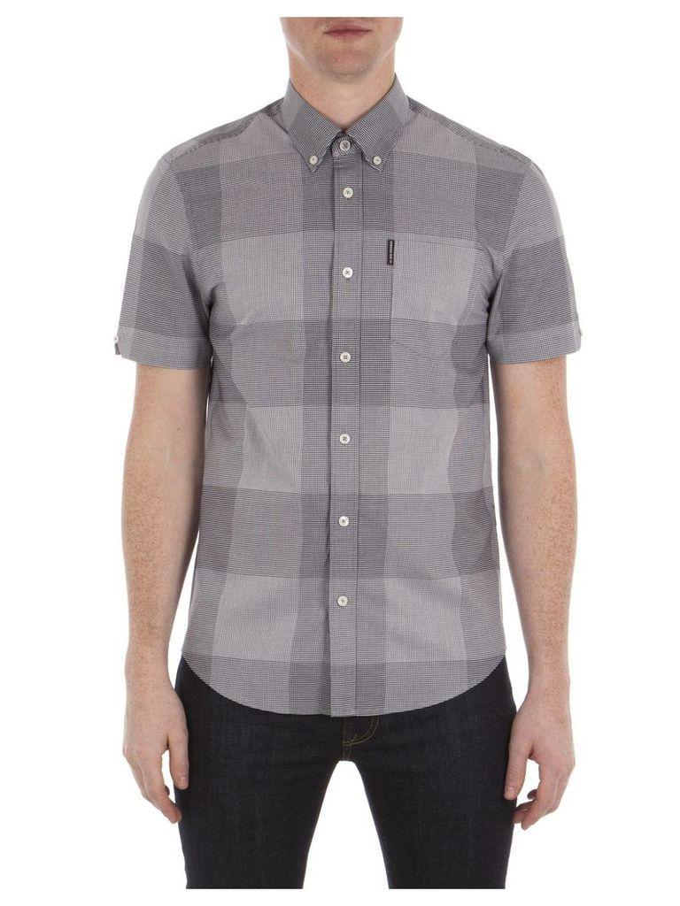 Short Sleeve Textured Micro Gingham Shirt XXL B51 Navy Blazer