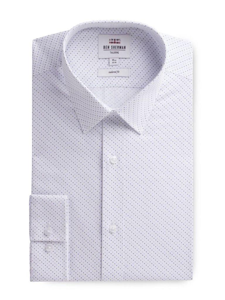 Long Sleeve Spot Print Formal Shirt 17.5 White