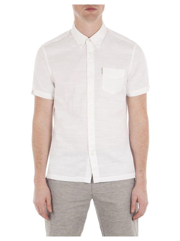 Short Sleeve Slub Twill Shirt XXXL A47 Bright White