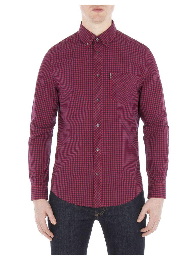 Long Sleeve Gingham Shirt 4XL 149 Red
