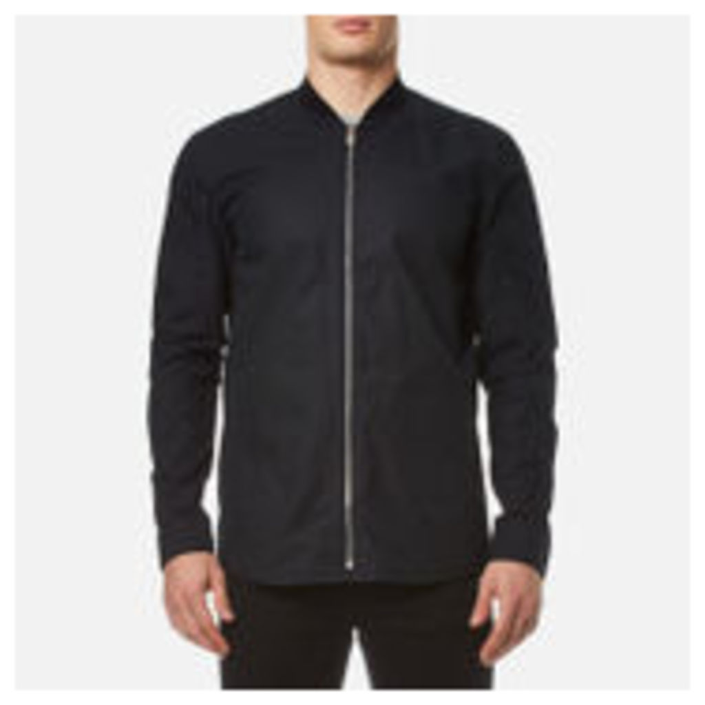 HUGO Men's Esuper Zipped Long Sleeve Shirt - Black - L - Black