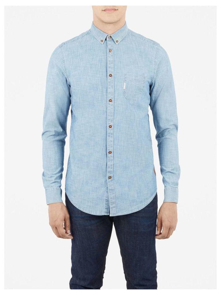 Plain Chambray Long Sleeve Shirt Lge Captains Blue