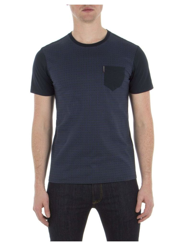 Gingham Front T-Shirt Sml B51 Navy Blazer