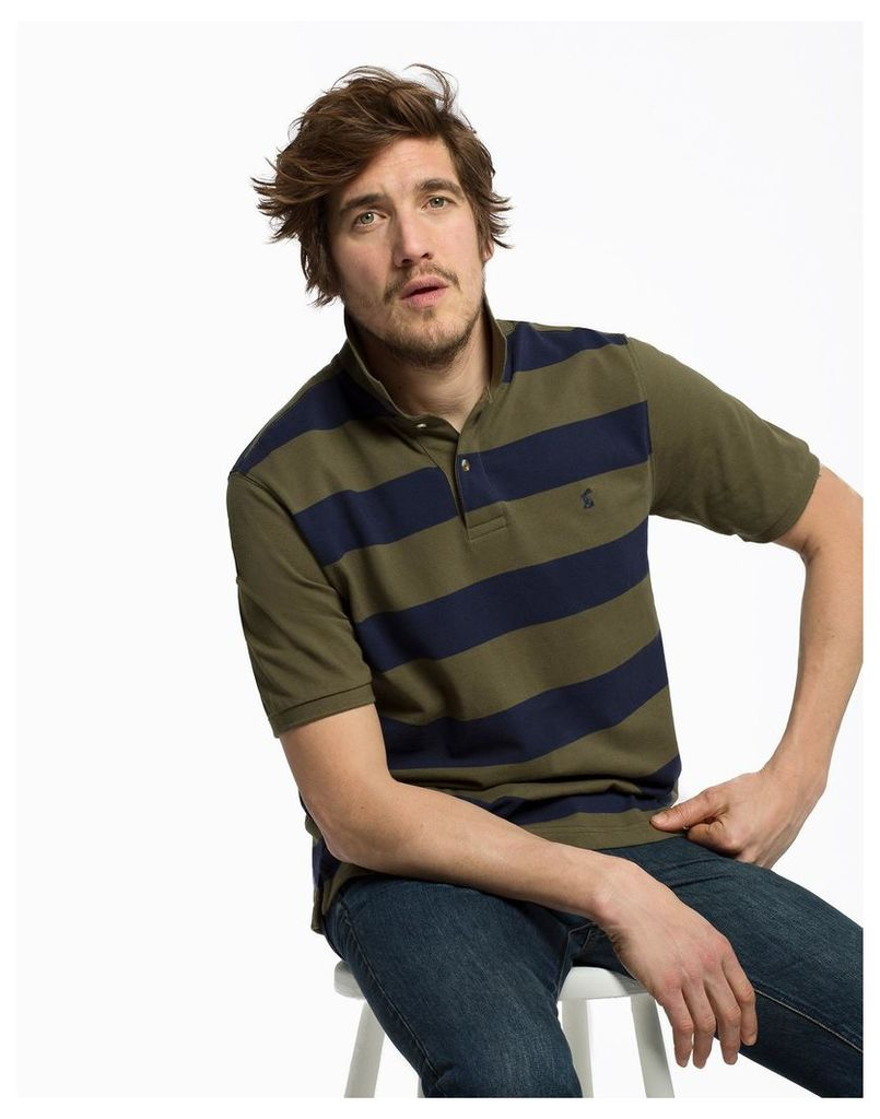 Dark Olive Stripe Filbert Classic Fit Striped Polo Shirt  Size XL | Joules UK