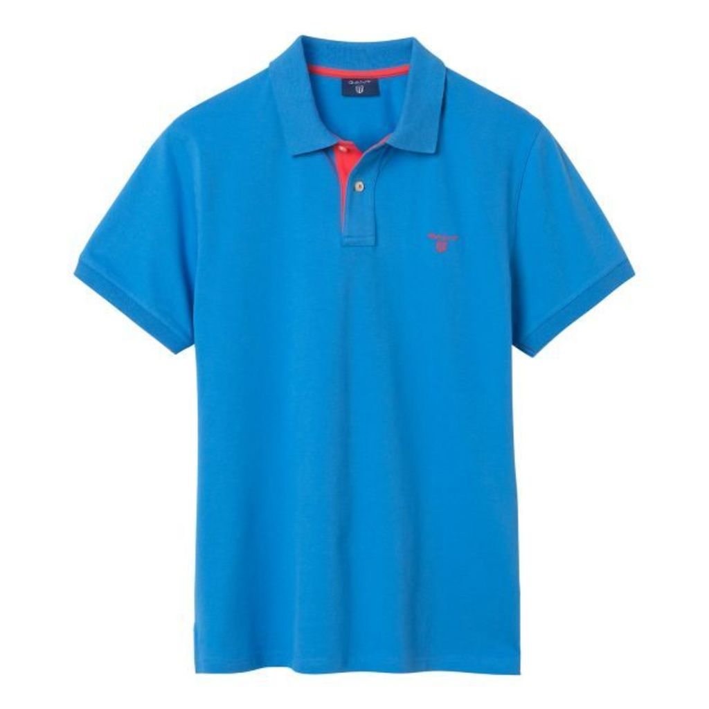 Contrast Collar Polo Shirt - Pacific Blue