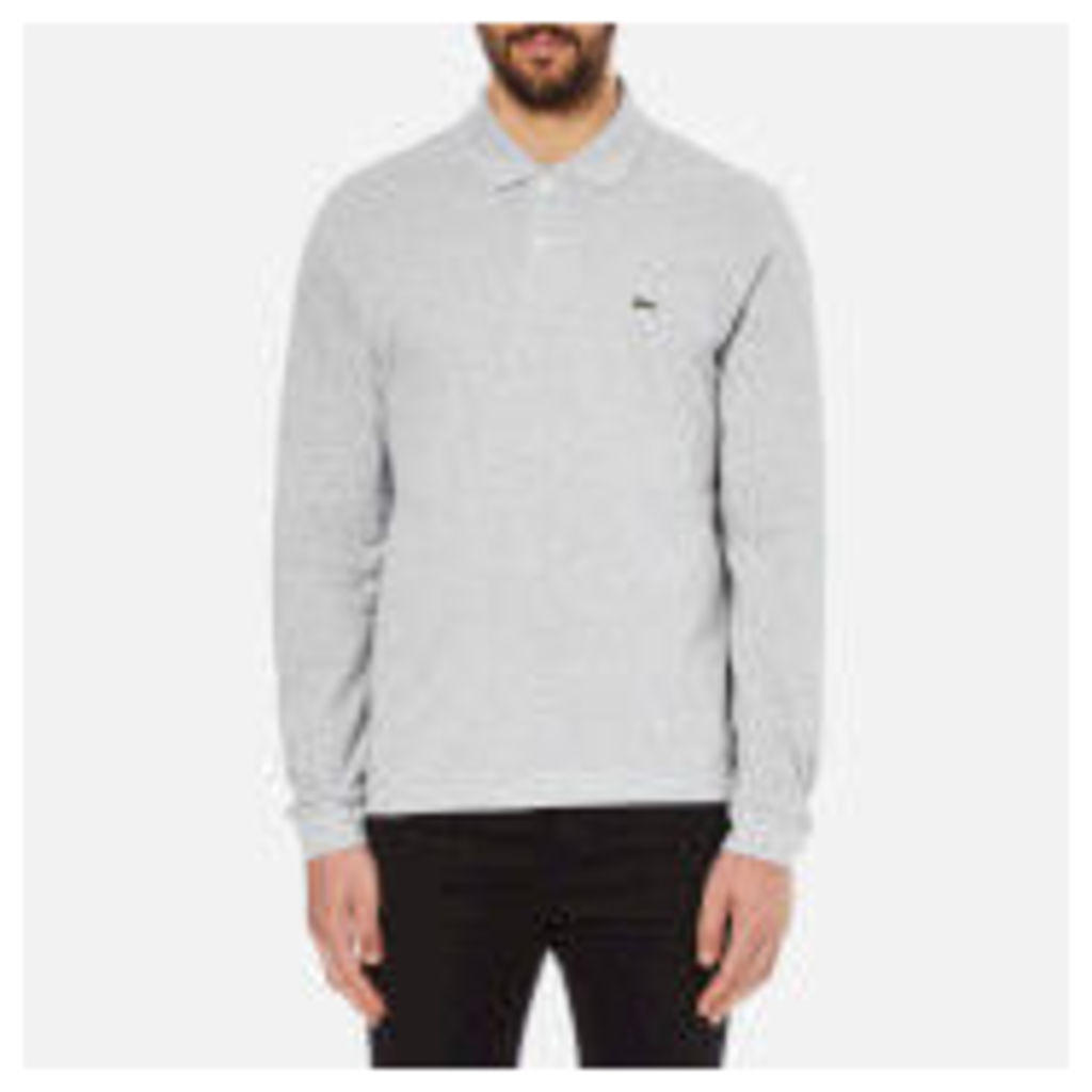 Lacoste Men's Long Sleeve Marl Polo Shirt - Silver Chine - 4/M - Grey
