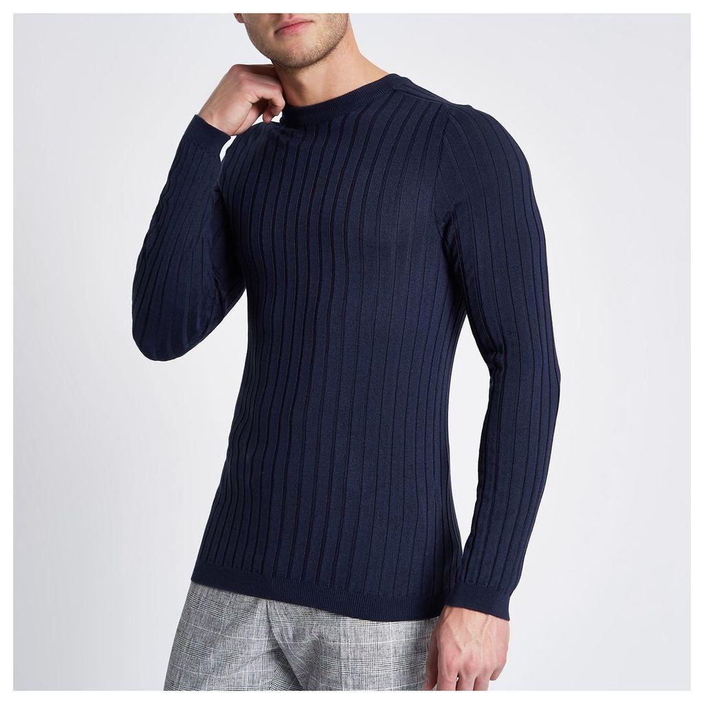 River Island Mens Blue rib knit muscle fit crew neck jumper