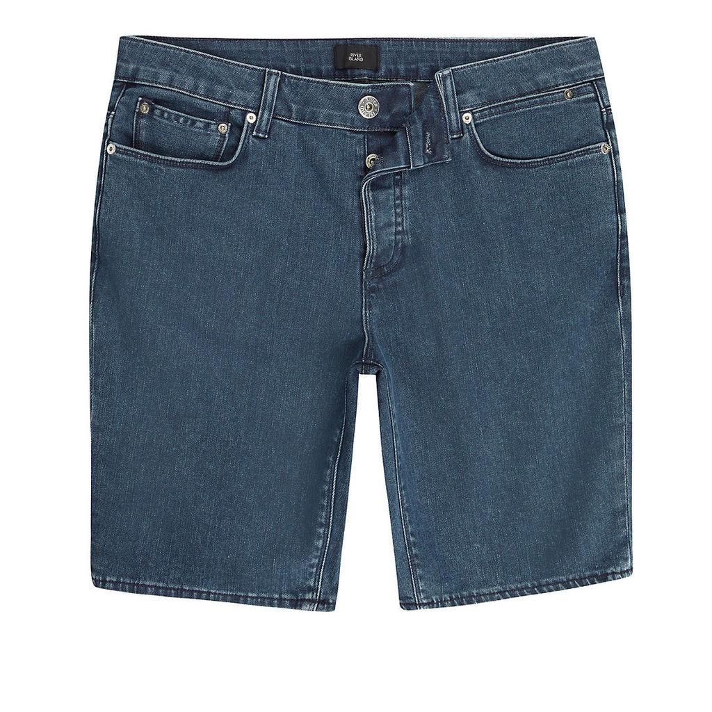 River Island Mens Mid Blue skinny denim shorts
