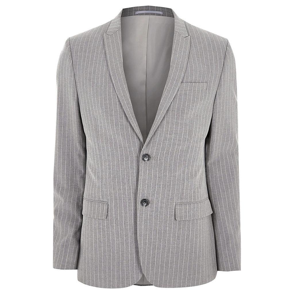 River Island Mens Grey stripe peak lapel suit jacket
