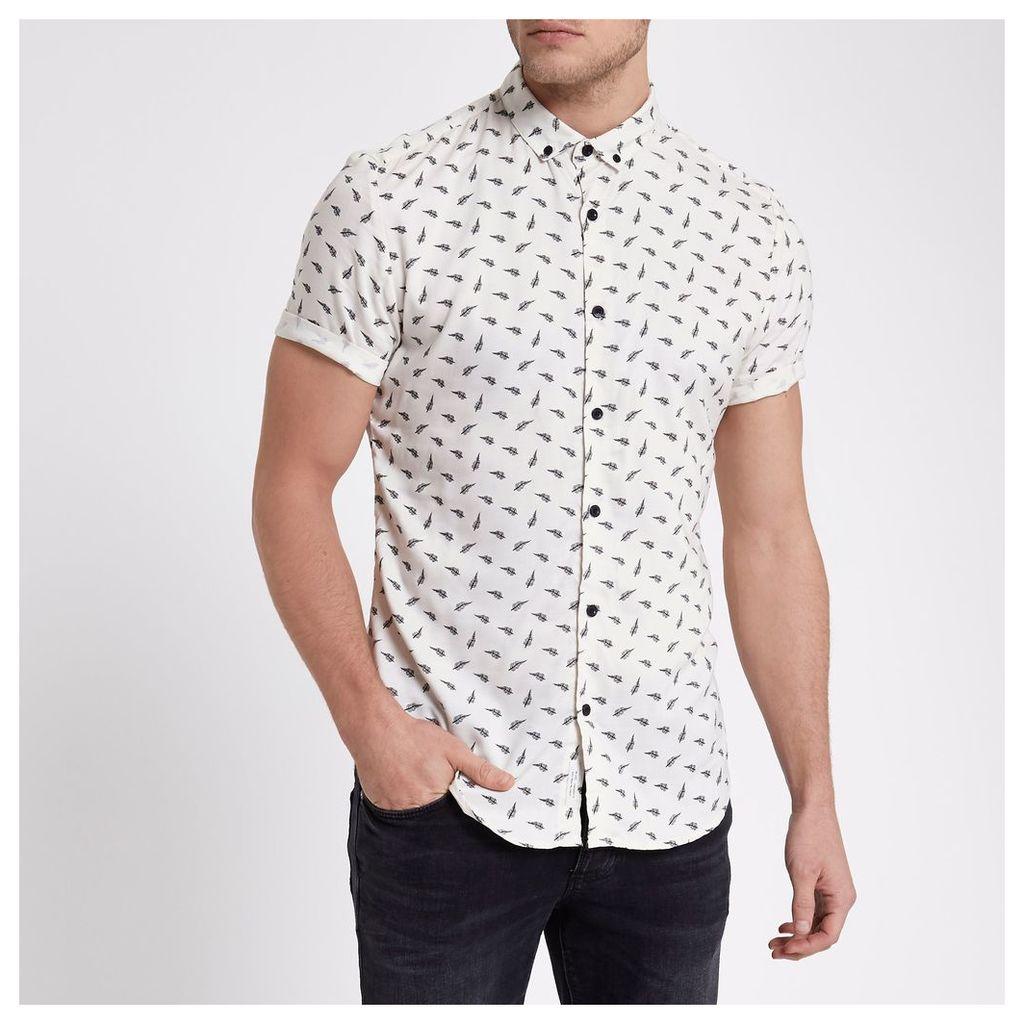 River Island Mens Cream feather slim fit short sleeve shirt
