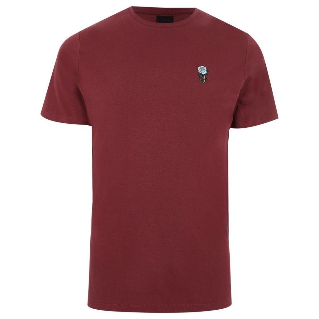 River Island Mens Burgundy rose chest embroidery slim T-shirt