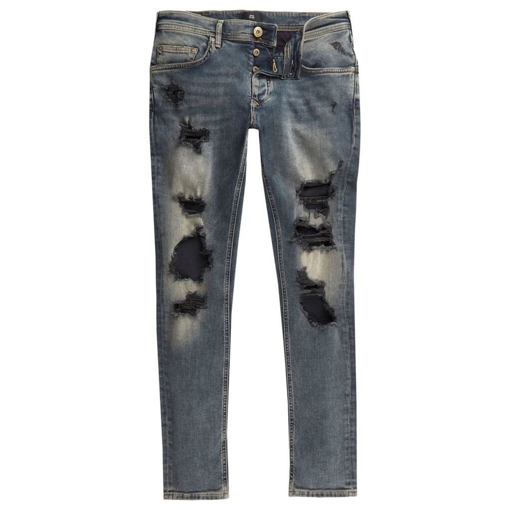 River Island Mens Mid Blue Sid ripped skinny jeans