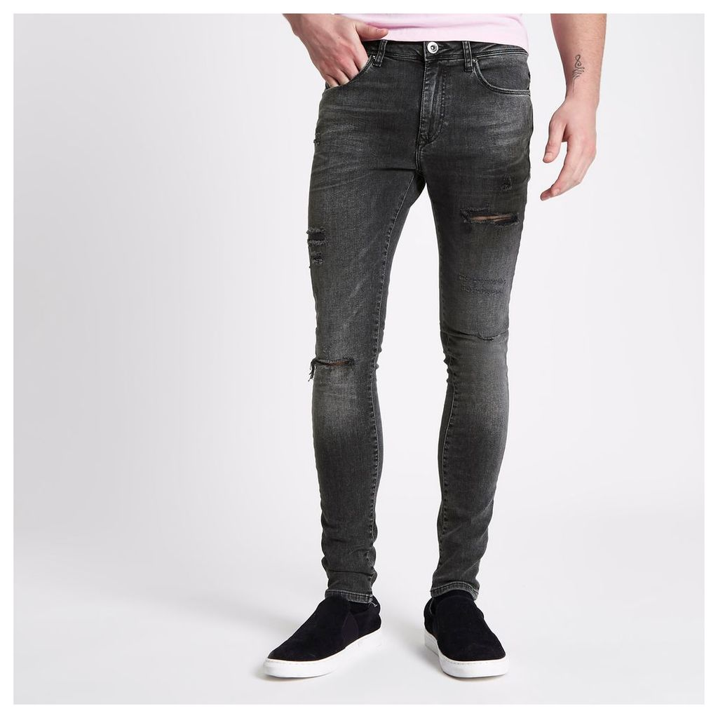 River Island Mens Washed Black Danny ripped super skinny jeans