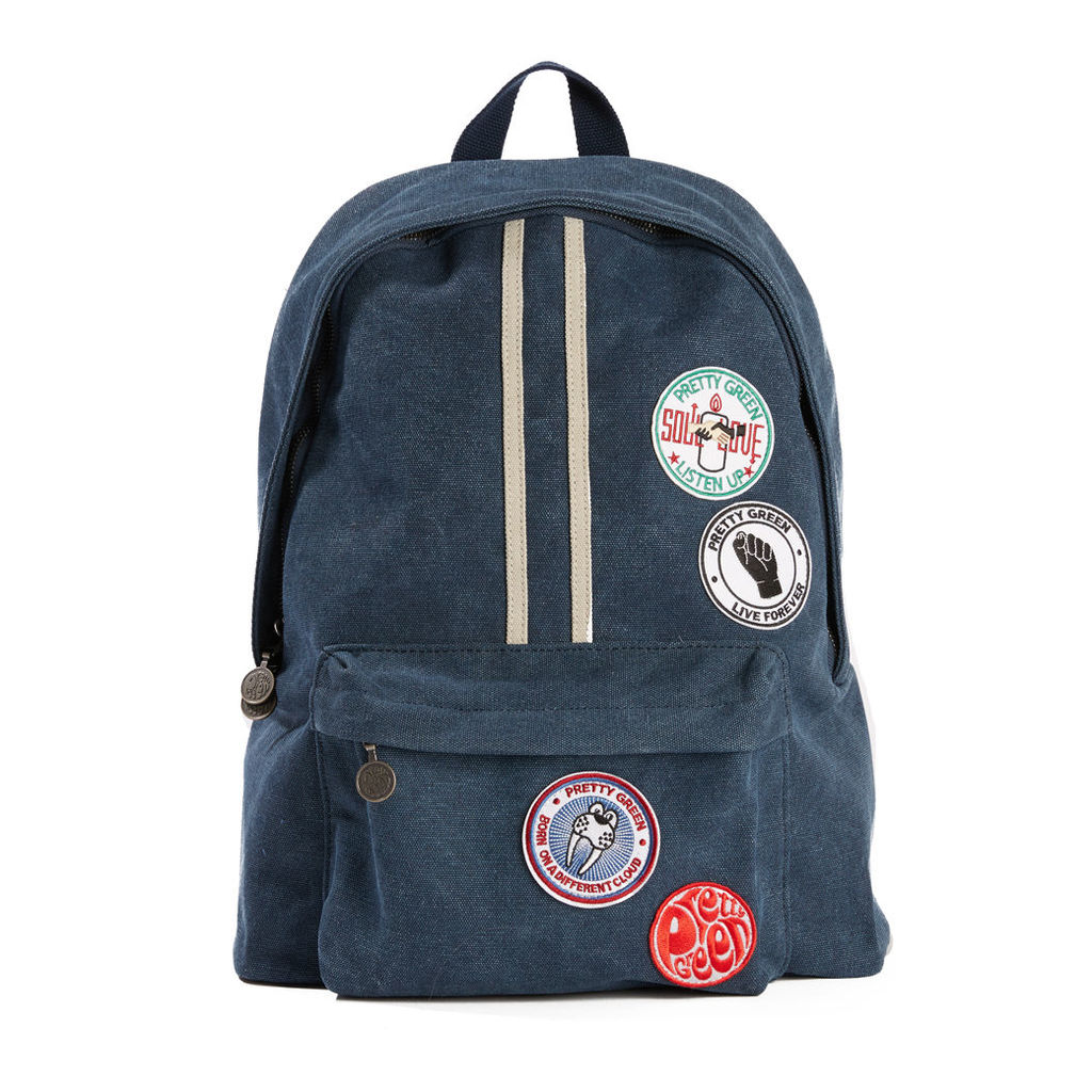 Pretty Green Men's Washed Canvas Backpack With Badges - Navy - One Size
