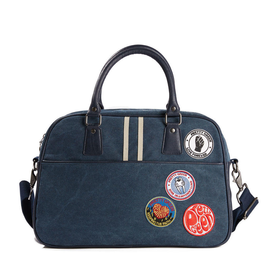 Pretty Green Men's Washed Canvas Bag With Badges - Navy - One Size