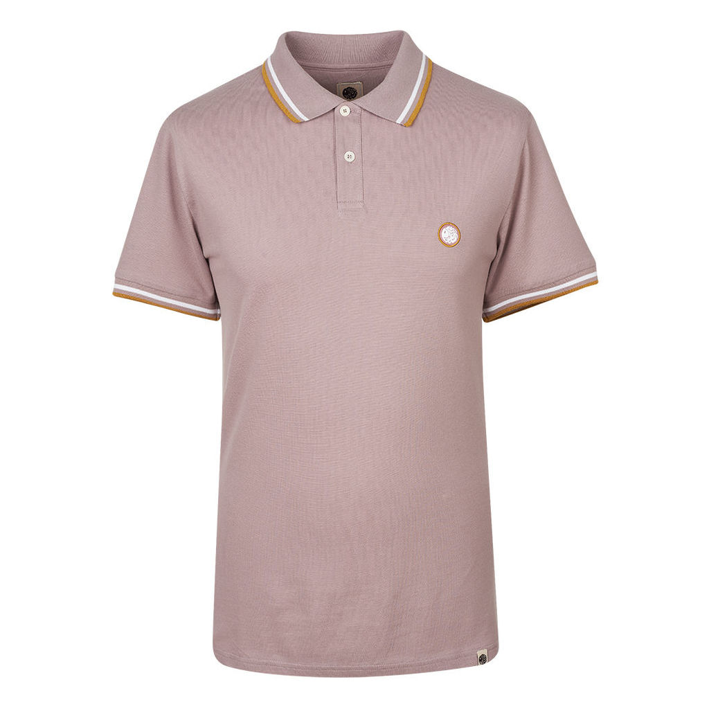 Pretty Green Men's Tipped Pique Polo Shirt - DUSTY PINK - XXL