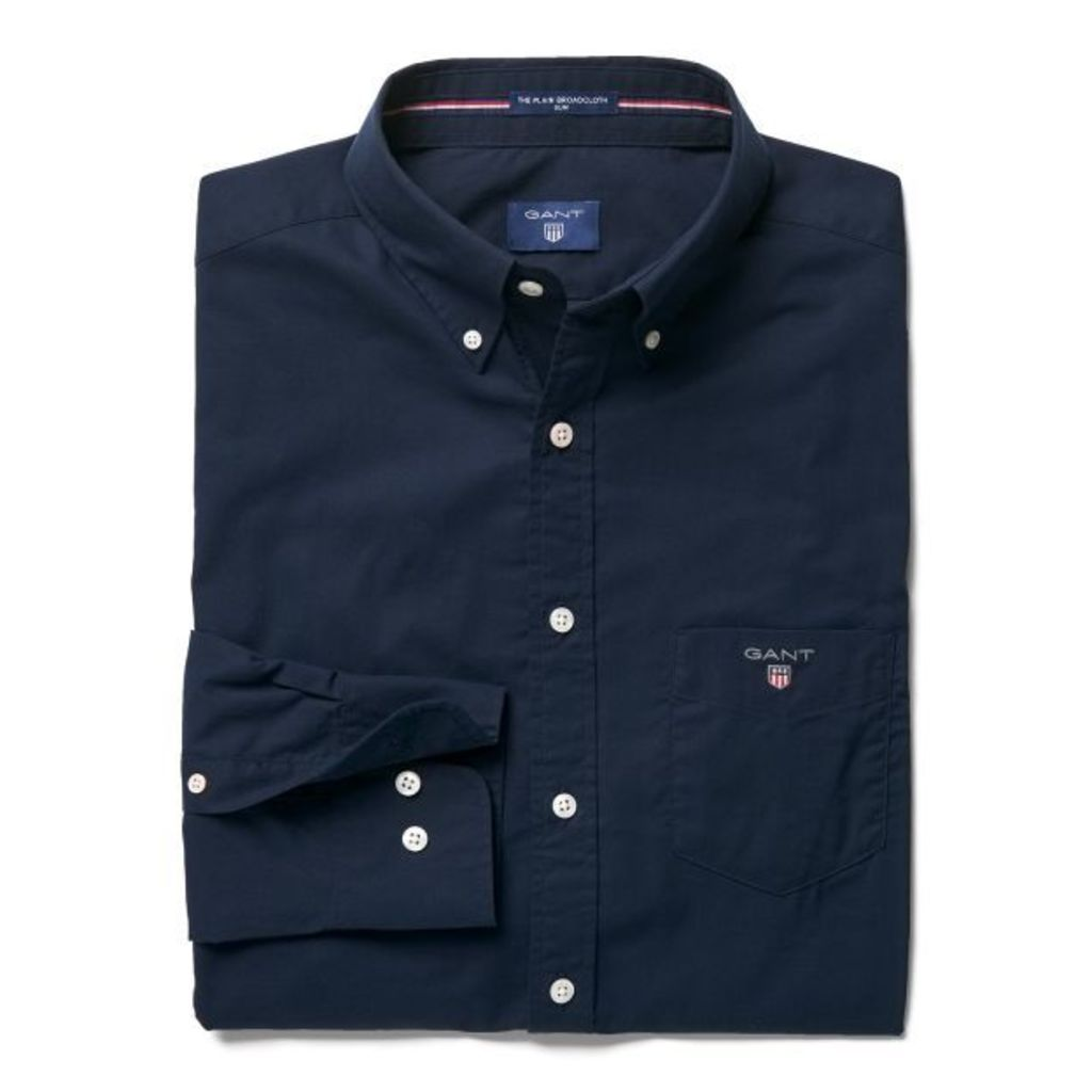 Slim Fit Broadcloth Shirt - Navy
