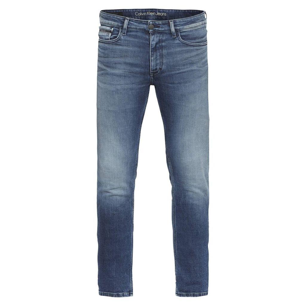 Men's Calvin Klein Slim Straight - Crashed Indigo Jeans, Light Blue