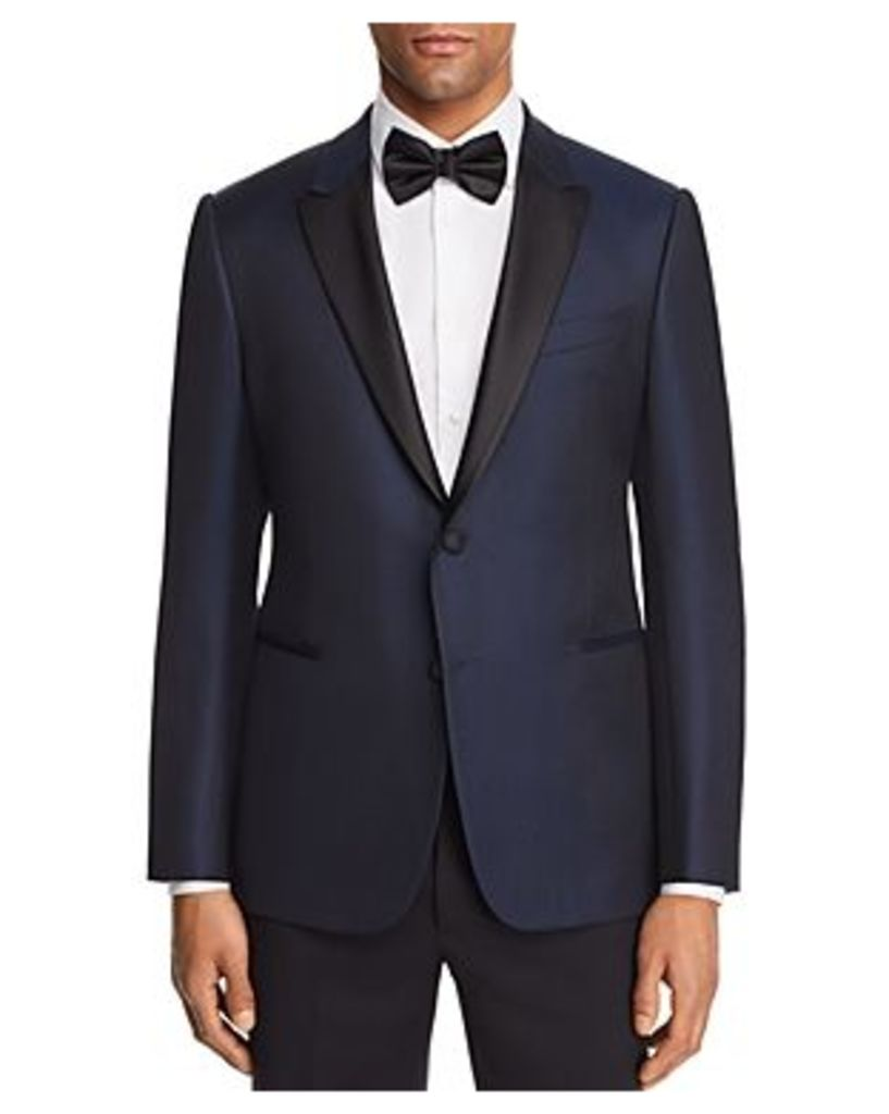 Emporio Armani Tonal Dotted Slim Fit Tuxedo Jacket