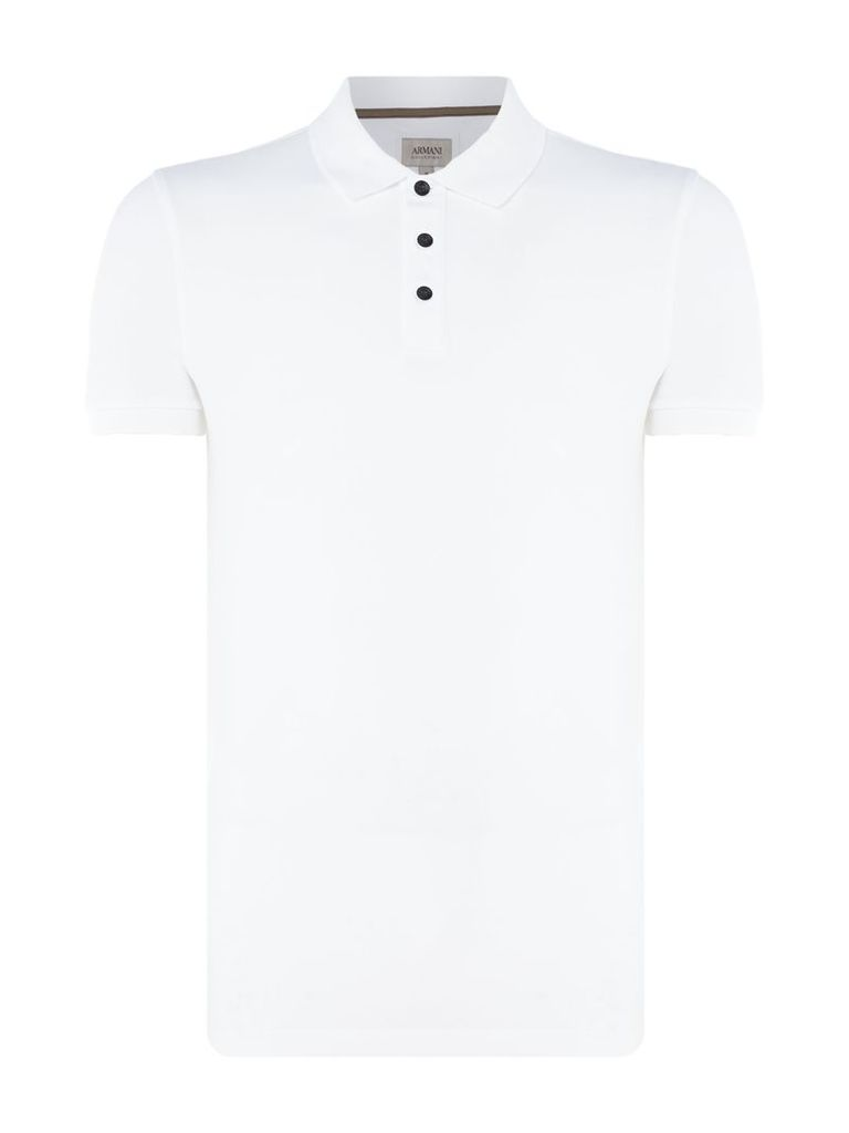 Men's Armani Collezioni Stretch Cotton Piquet Polo T-Shirt, White