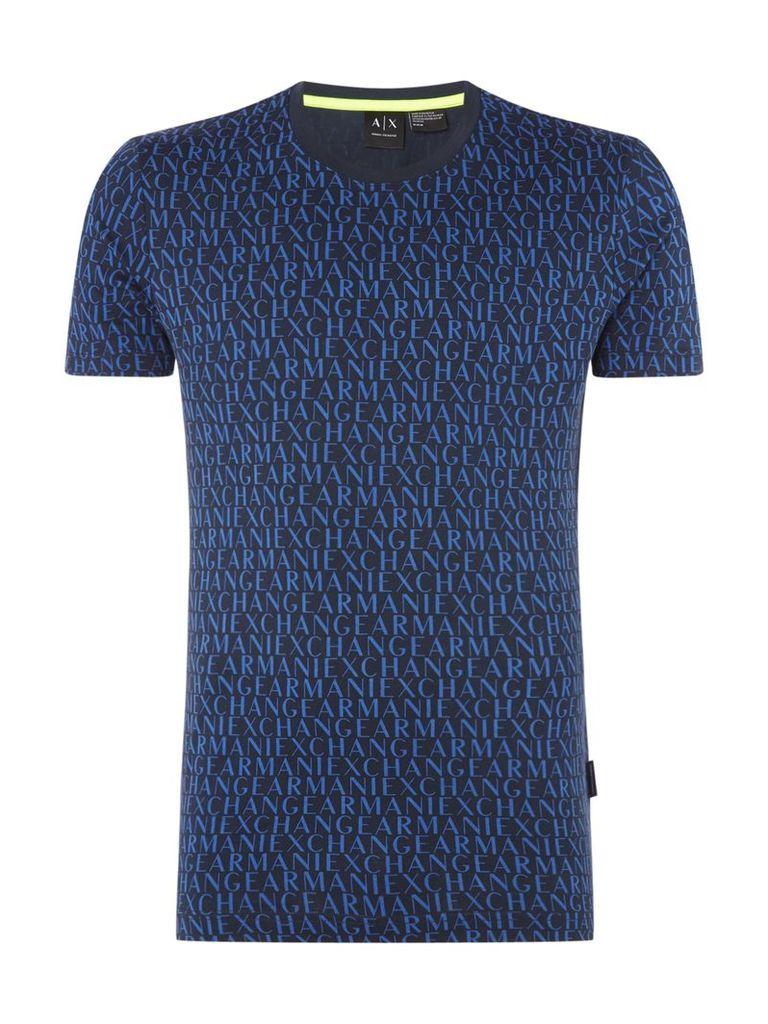 Men's Armani Exchange All Over Logo Print Tshirt, Blue