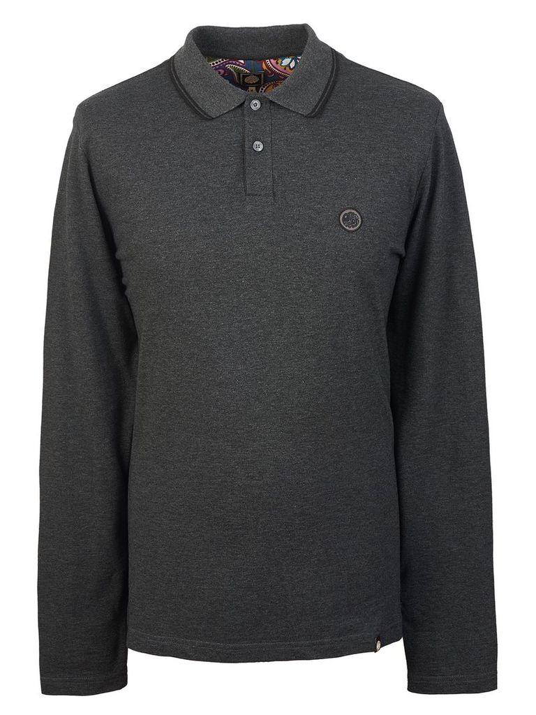 Men's Pretty Green Long Sleeve Tipped Pique Polo Shirt, Grey