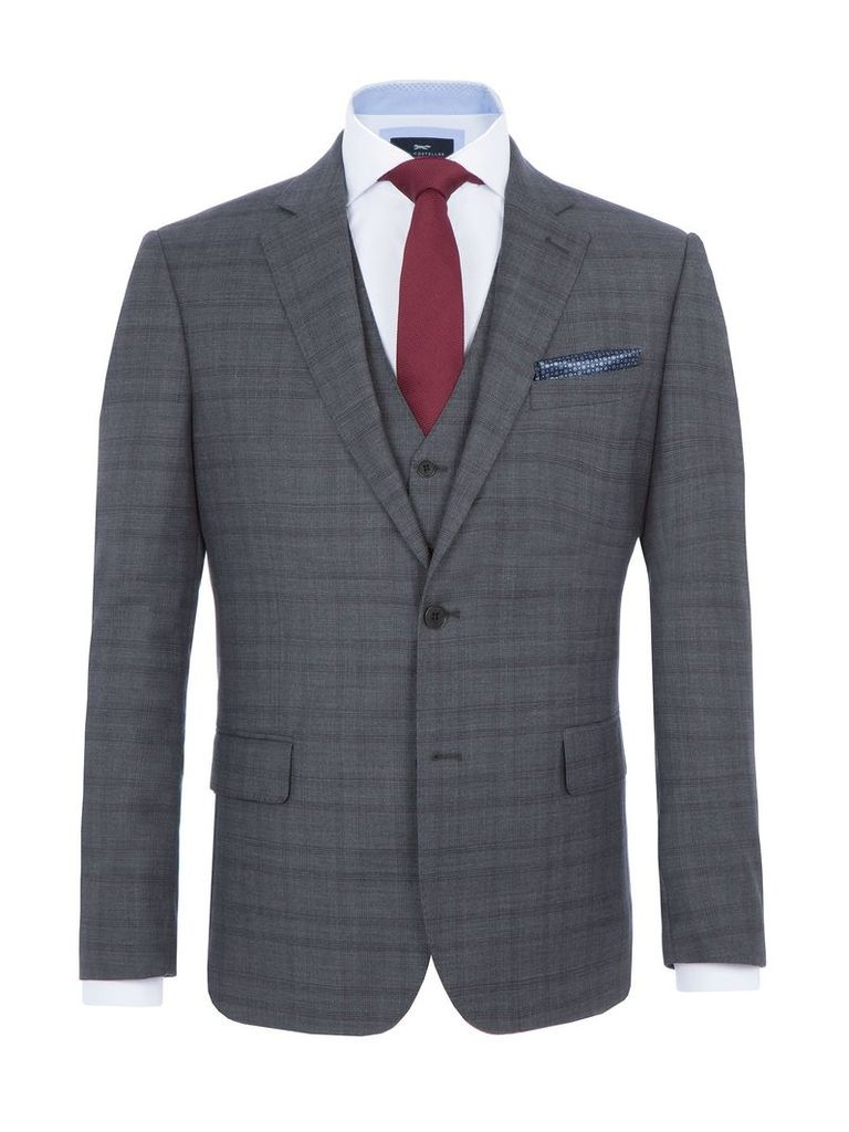 Men's Paul Costelloe Clyde Wool Checked Suit Jacket, Grey