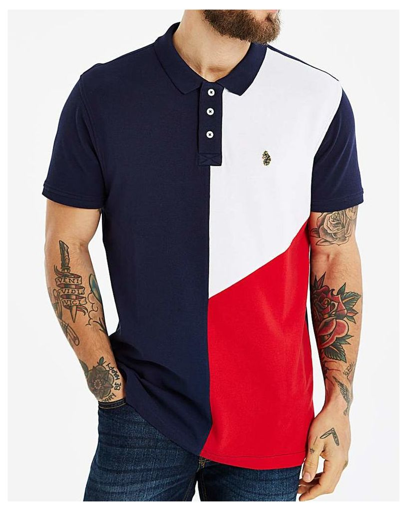 Luke Dark Navy Abstract Panel Polo L