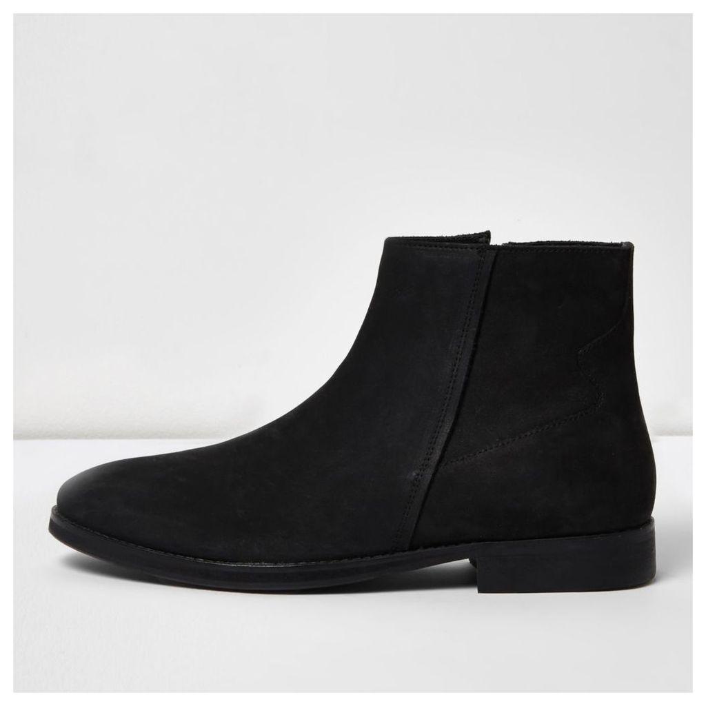 River Island Mens Black nubuck leather zip boots
