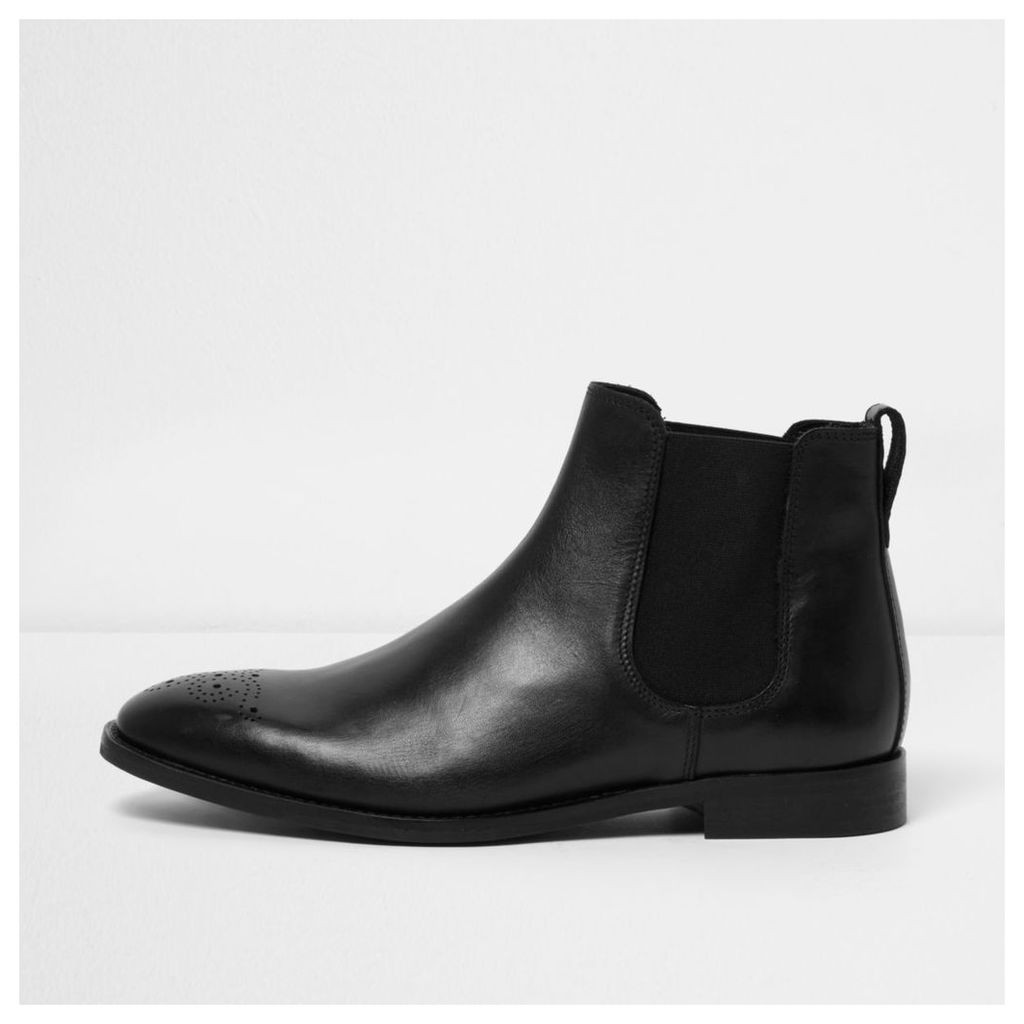 River Island Mens Black leather chelsea boots
