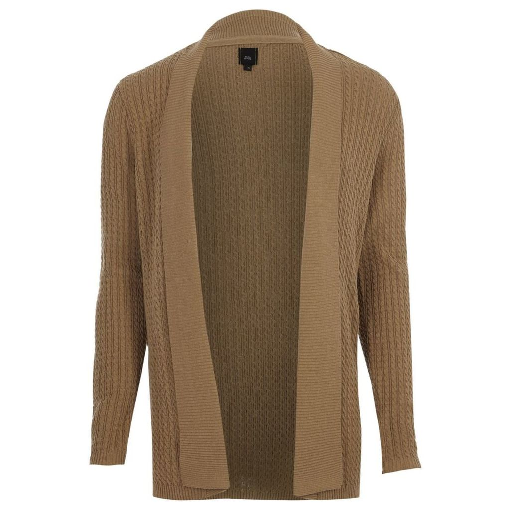River Island Mens Light Brown cable knit open front cardigan