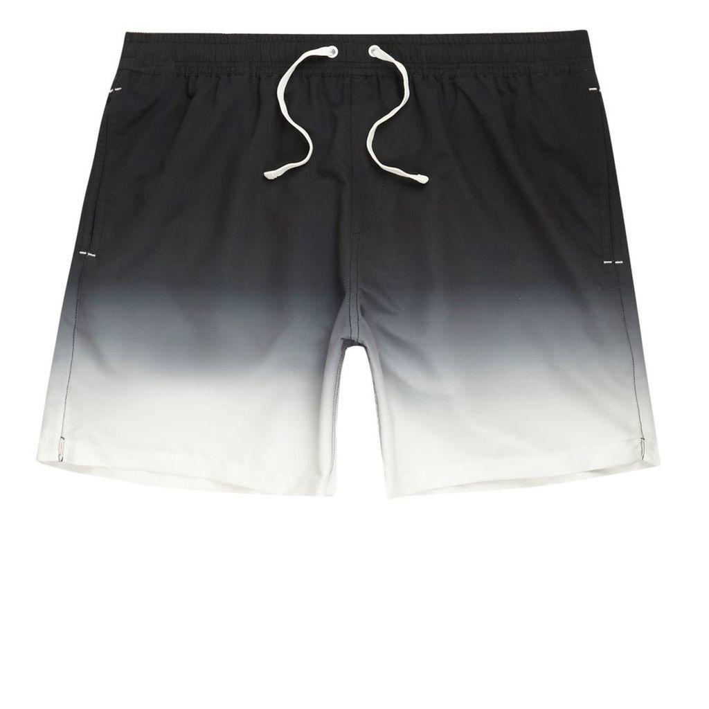 River Island Mens Black dip dye swim shorts