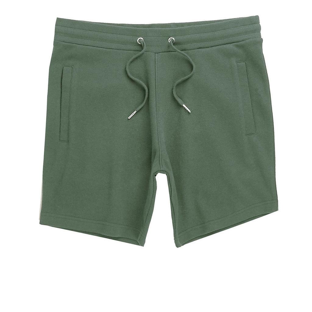 River Island Mens Khaki green twill shorts