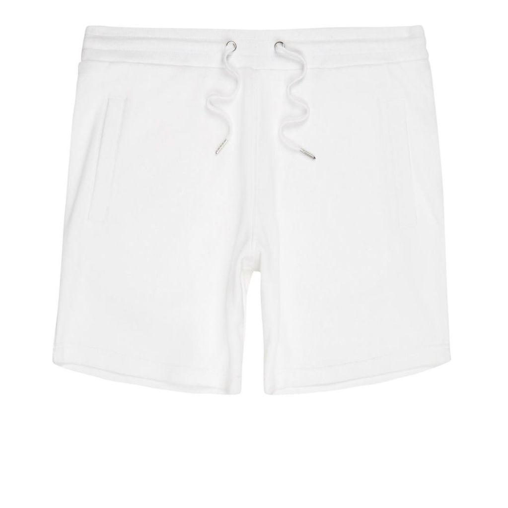 River Island Mens White pique shorts