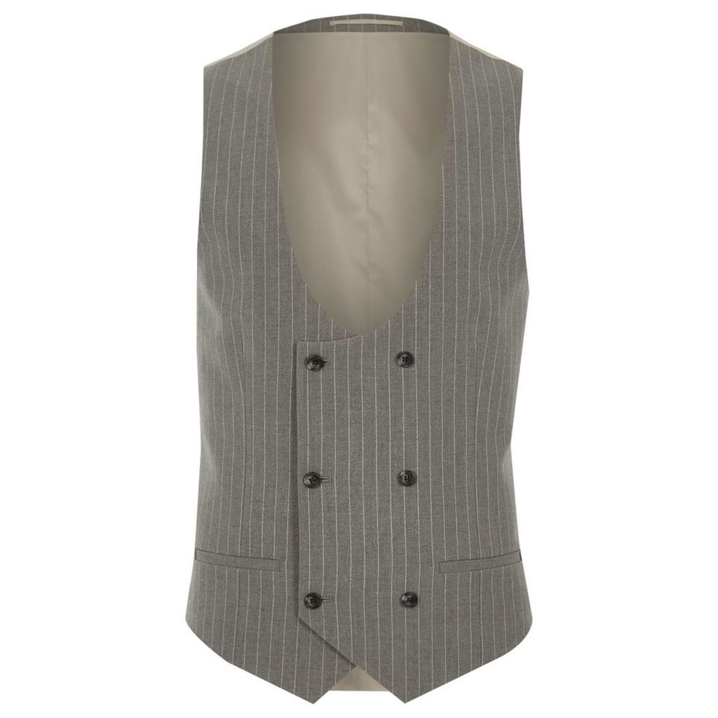 River Island Mens Grey stripe double breasted suit waistcoat