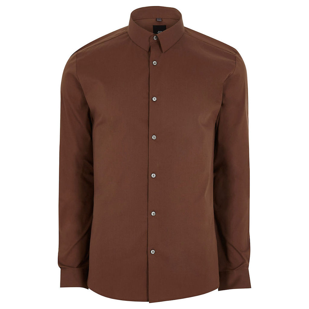 River Island Mens Brown long sleeve muscle fit shirt