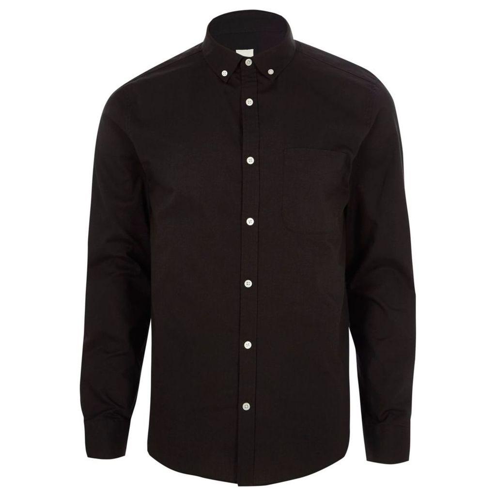 River Island Mens Black long sleeve button-down Oxford shirt