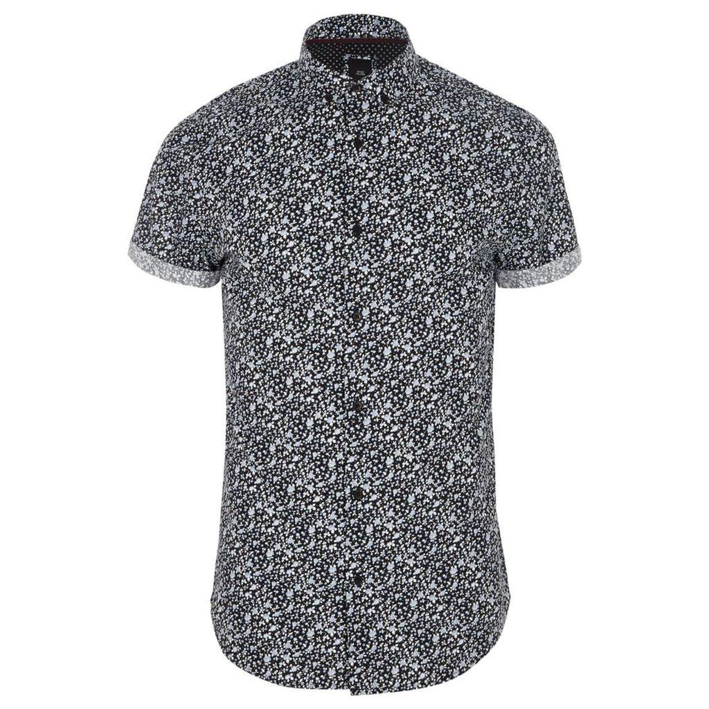 River Island Mens Navy ditsy floral short sleeve slim fit shirt