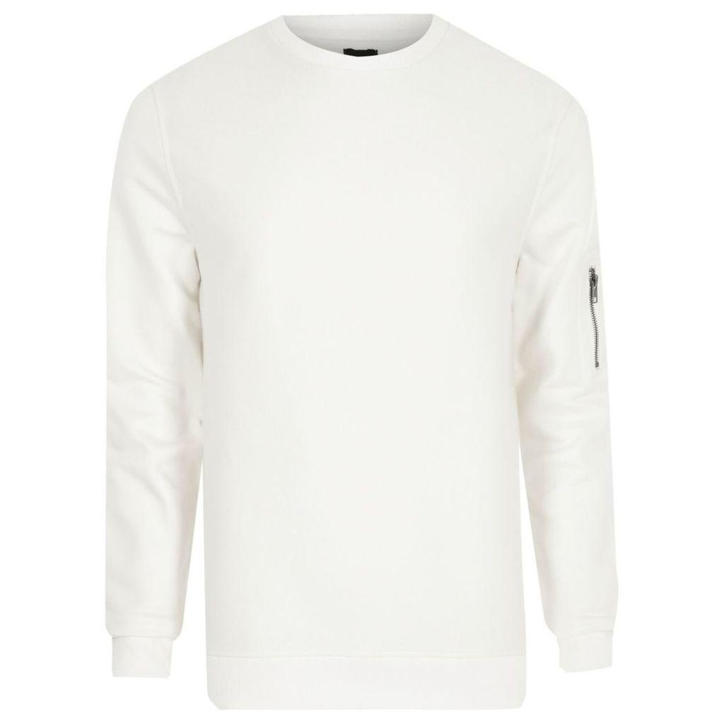 River Island Mens White zip pocket sleeve sweatshirt