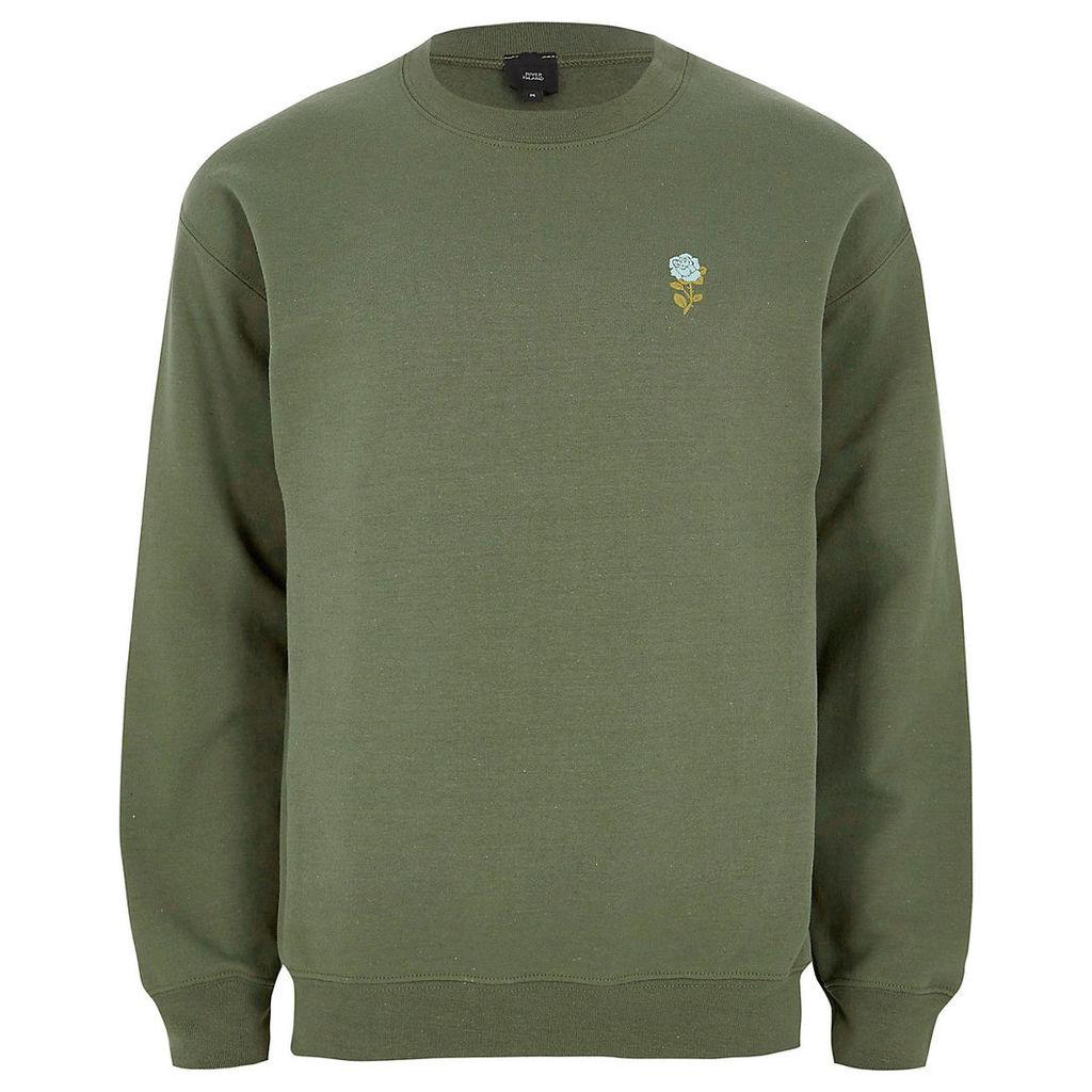 River Island Mens Khaki green rose embroidery print sweatshirt