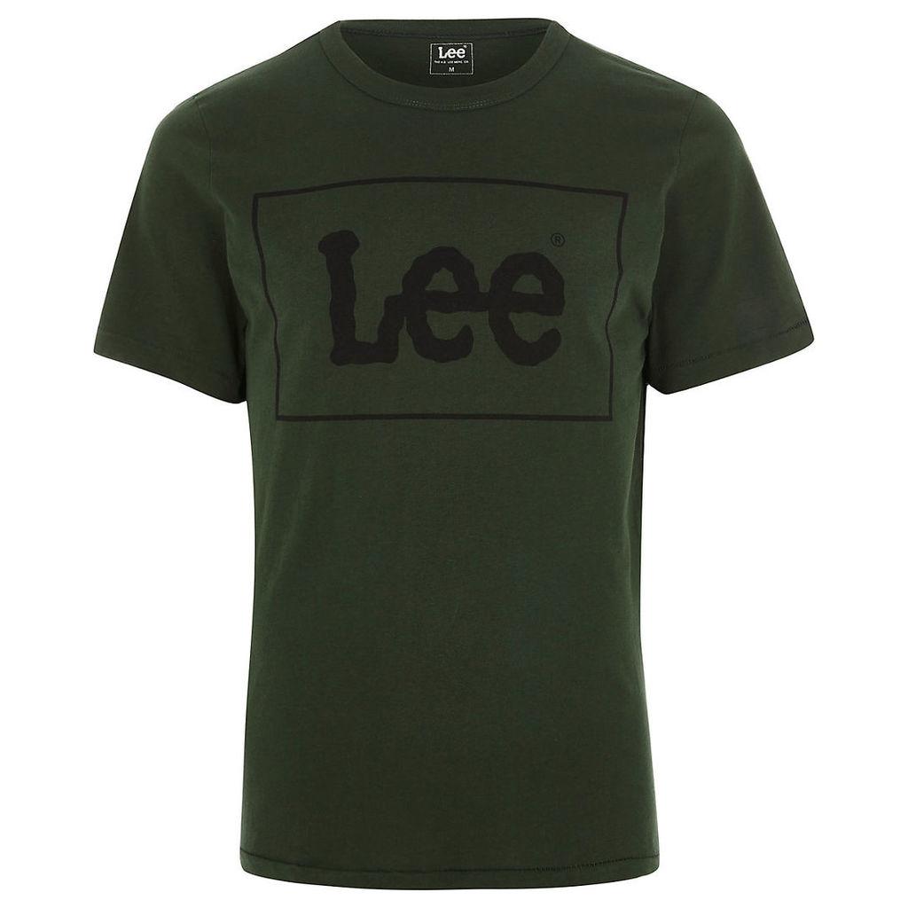 River Island Mens Dark Green Lee logo print crew neck T-shirt