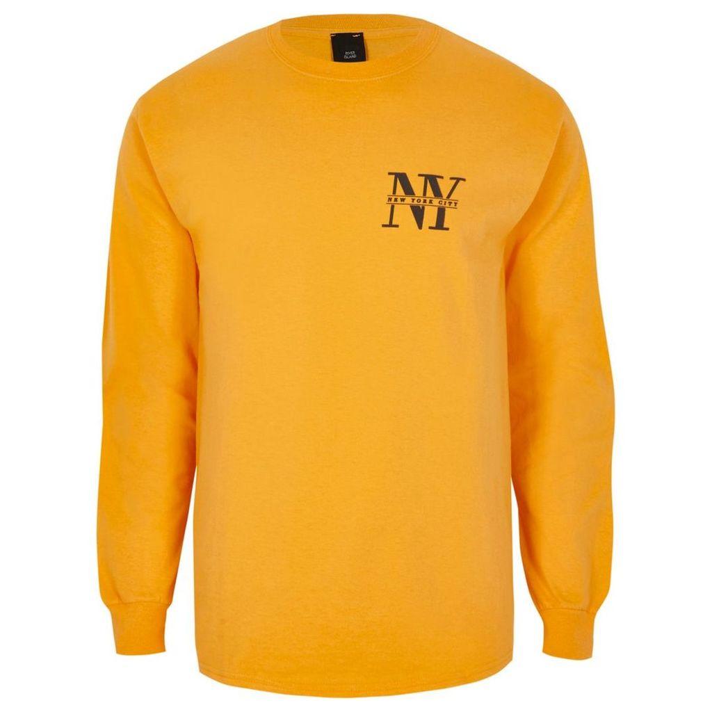 River Island Mens Yellow 'NYC' print slim fit long sleeve top