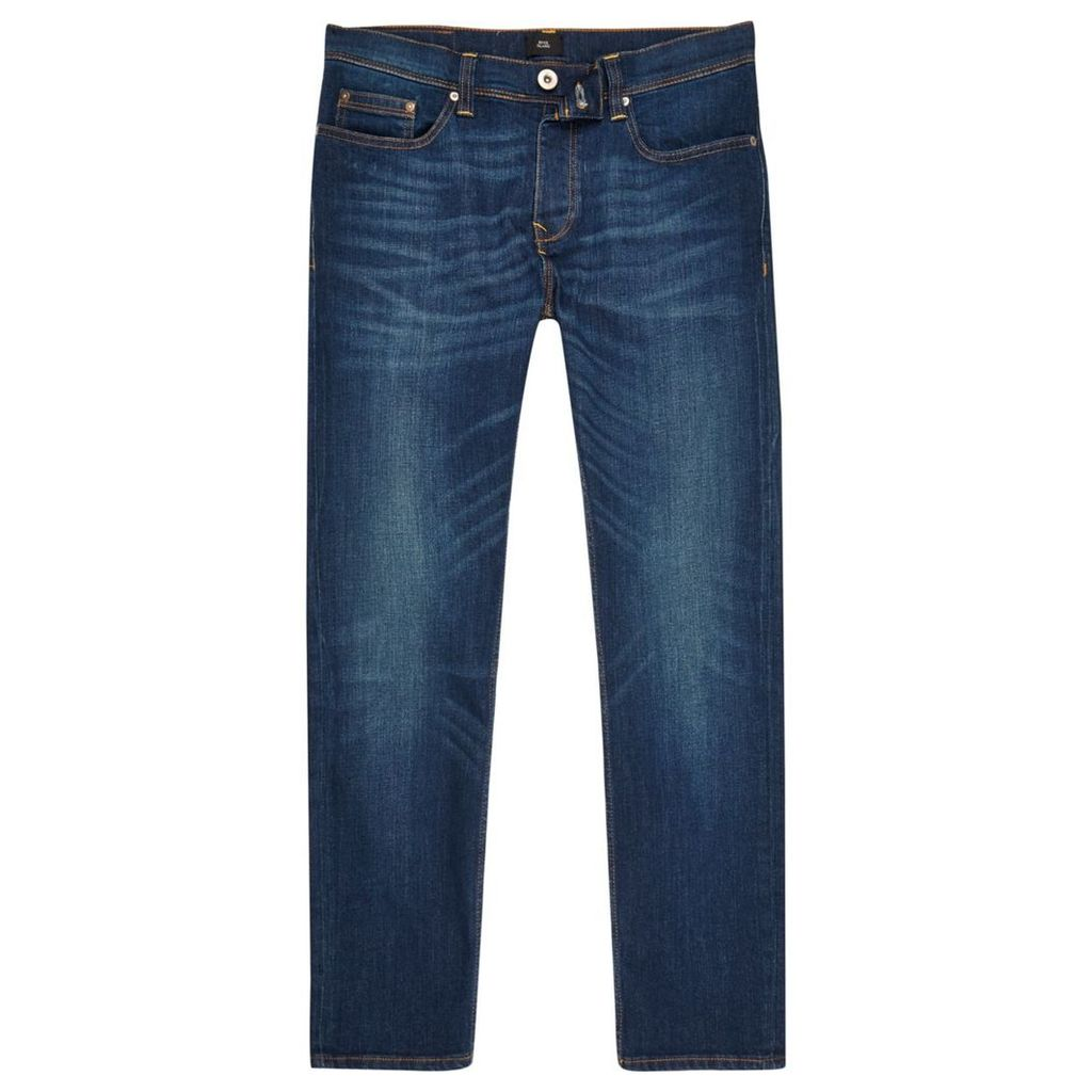 River Island Mens Dark Blue wash Dylan slim fit jeans