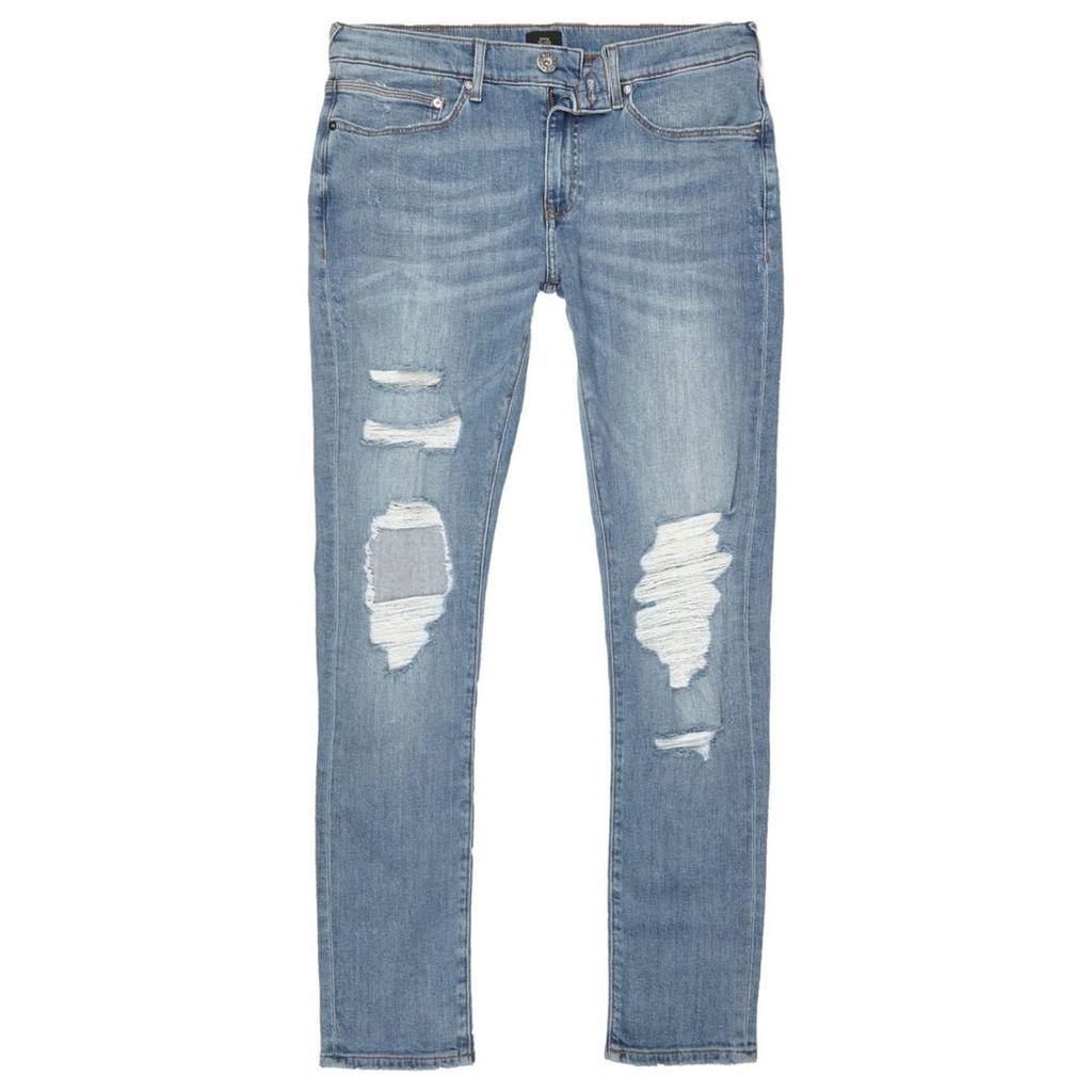 River Island Mens Blue Danny ripped super skinny jeans