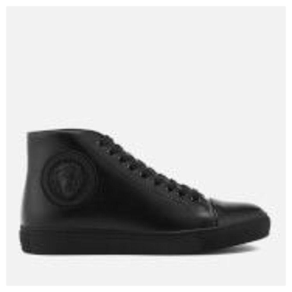 Versus Versace Men's Round Logo High Top Trainers - Black/Black - EU 44/UK 10 - Black