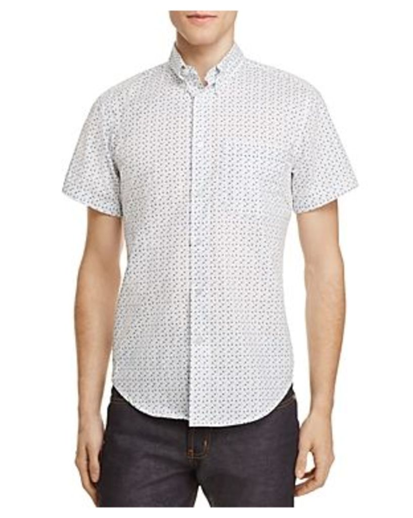 Naked & Famous Micro Floral Print Regular Fit Button-Down Shirt