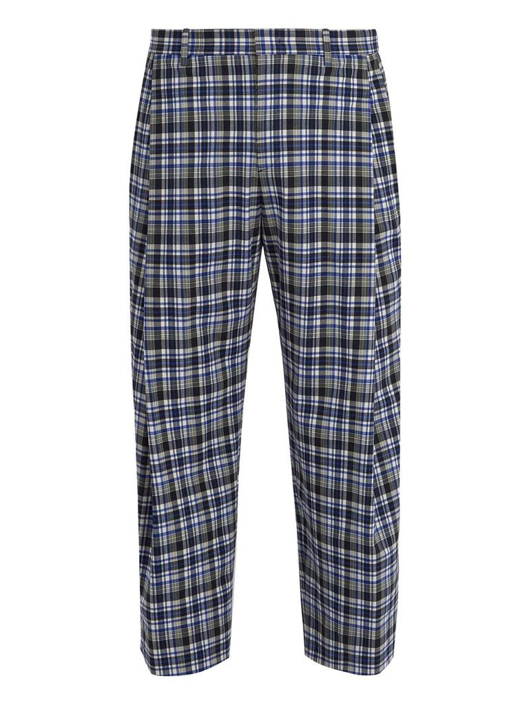 Wide-leg checked stretch-wool cropped trousers