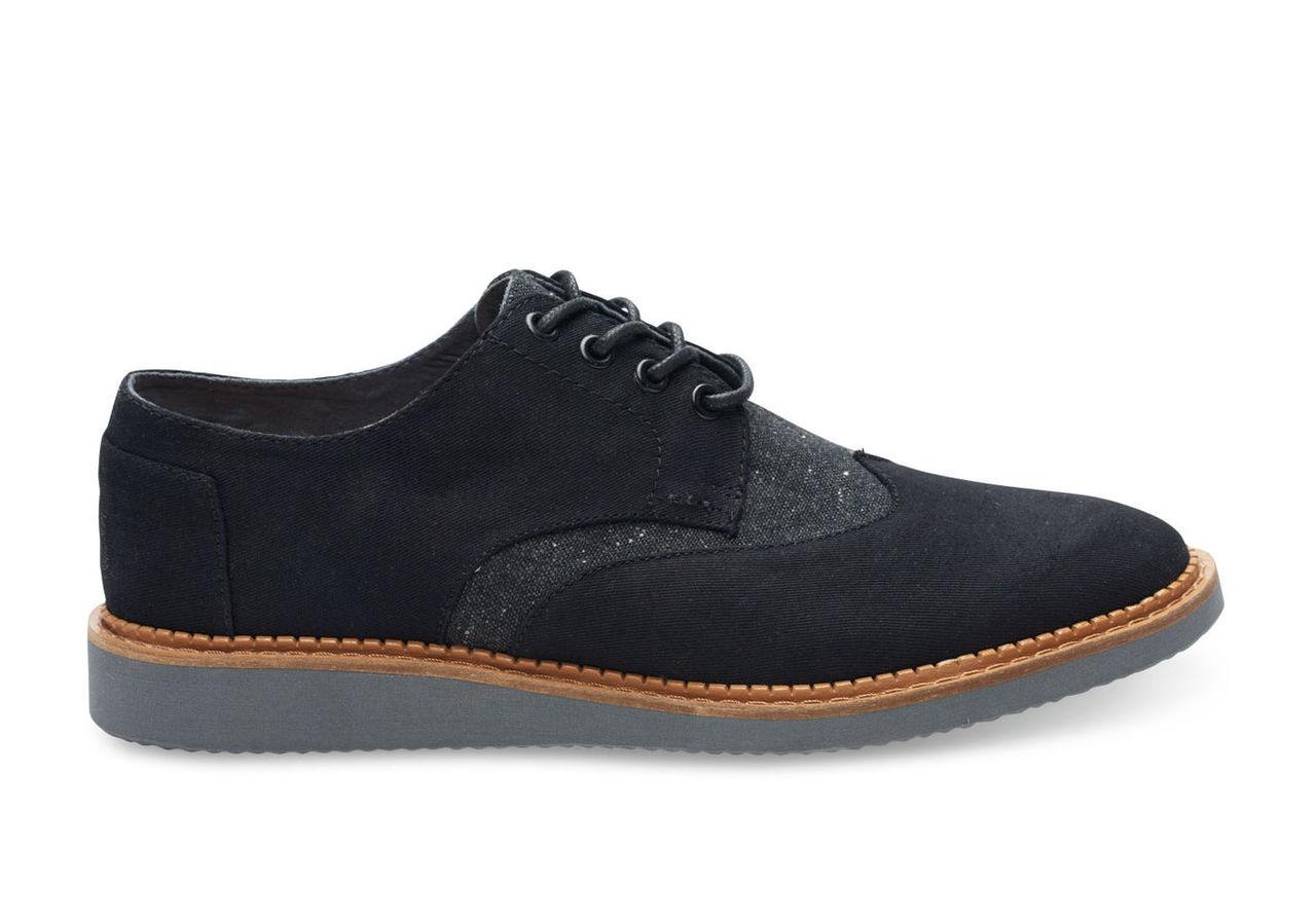 Black Cotton Twill and Wool Men's Brogues